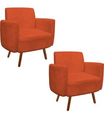 kit 02 poltrona d'rossi decorativa agatha suede laranja braços curvos