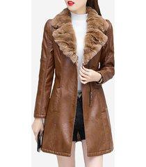 cappotto in velluto spesso con collo in pelliccia di velluto