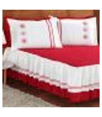 colcha renata casal vermelha com refil 5 peças com detalhes bordados