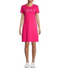 dkny women's logo t-shirt dress - beetroot - size xs