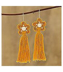 crocheted cotton dangle earrings, 'yellow floral tassel' (india)