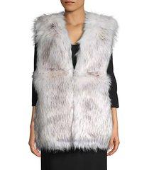 v-neck faux fur vest