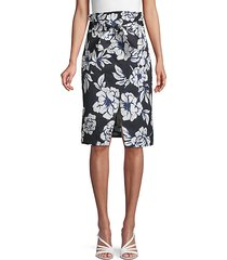 floral-print tie-front skirt