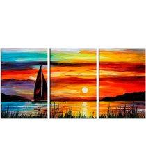 conjunto de telas decorativas barco a vela com por do sol médio love decor