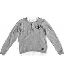 replay grijze trui met witte longsleeve