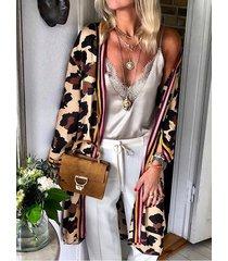 abrigo delantero abierto de manga larga de leopardo caqui