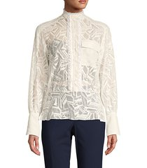 embroidered lace cotton-blend blouse