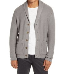 men's liverpool shawl collar cardigan, size small - grey