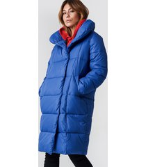 na-kd padded shawl collar jacket - blue