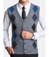 gilet da uomo casual in lana con scollo a v con scollo a v, stile britannico