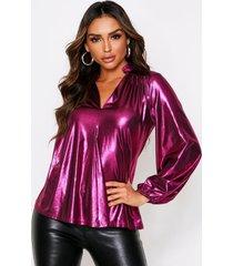 balloon sleeve metallic oversized shirt, magenta