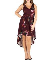 24seven comfort apparel women's plus size floral high low dress