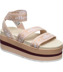 el elina nat/off wht/burg shoes summer shoes flat sandals beige ellesse