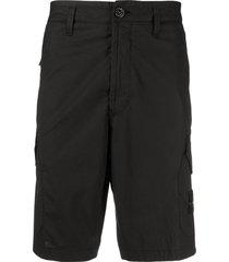 stone island logo patch shorts - black