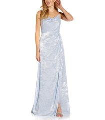 adrianna papell shimmer cowlneck gown