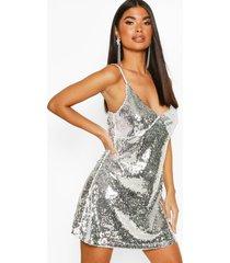 petite sequin spaghetti strap slip dress, silver
