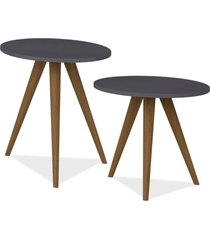 kit com mesa de canto e mesa lateral lyam decor retrã´ preto - preto - dafiti