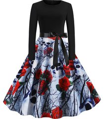 halloween skull floral print retro party dress