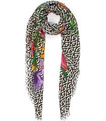'flora privilege' mixed print wool shawl