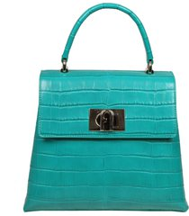 furla 1927 handbag m in green printed leather