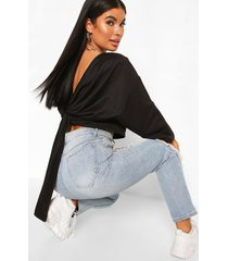 petite knot back sweat top, black