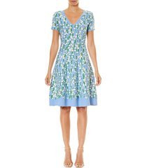 carolina herrera women's floral jacquard fit-&-flare dress - cielo multicolor - size xs