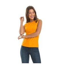 regata canelada feminina rovitex básicos amarelo