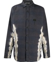 palm angels tie-dye palm overshirt - grey