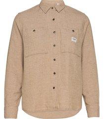 worker shirt overhemd met lange mouwen beige lee jeans