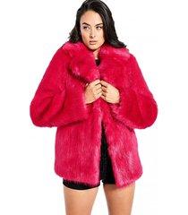 chaqueta ls anna faux fur coat fucsia guess