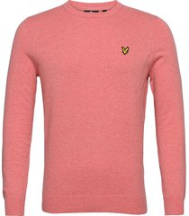 cotton merino crew jumper gebreide trui met ronde kraag roze lyle & scott