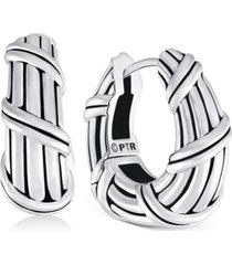 peter thomas roth tapered huggie hoop earrings in sterling silver