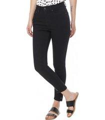jeans slim botones i mujer negro corona