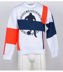 bikkembergs designer sweatshirts, white, blue and neon orange men's sweatshirt