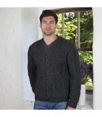 pure wool traditional v neck cardigan charcoal medium