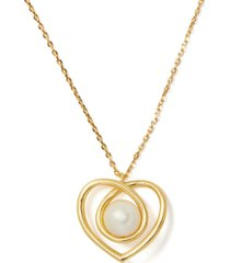 "kate spade new york gold-tone imitation pearl infinite heart pendant necklace, 17"" + 3"" extender"