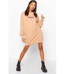 hooded embriodered sweatshirt dress, camel