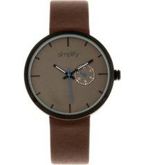 simplify quartz the 3900 genuine dark brown leather watch 40mm