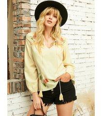 yoins blusa de manga larga con cuello de pico floral con tira elástica beige