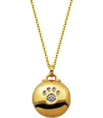 gold-tone cubic zirconia round locket with paw print necklace in fine silver plate