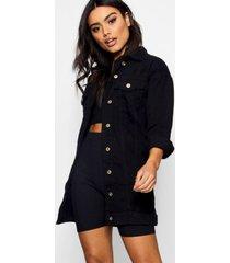 longline distressed jean jacket, black