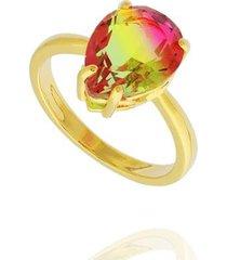 anel dona diva semi joias bicolor gota feminino