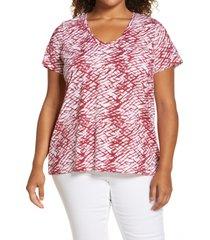 plus size women's caslon rounded v-neck tee, size 2x - white