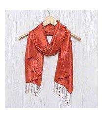 silk scarf, 'otherworldly in vermilion' (thailand)