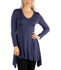 24seven comfort apparel women long sleeve side slit hem tunic top