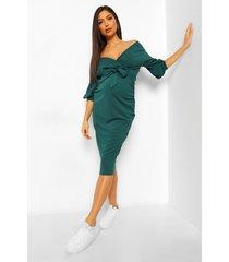 positiekleding midi-jurk in wikkelstijl met blote schouder, smaragd