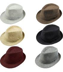 5x 2015 fashion men women casual fedora hat pinched crown beach sun cap (mixed)