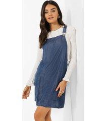 chambray tuinbroek jurk, mid blue
