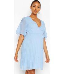 maternity pleated wrap midi skater dress, blue