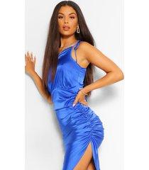 asymmetrische satijnen geplooide jurk met eén blote schouder, kobalt
